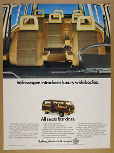 1982 VW Volkswagen Vanagon GL brown van seats interior photo vintage print Ad