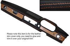 Puntadas de hilo naranja Dash Dashboard Leather Skin Tapa se ajusta Mercedes W114 W115