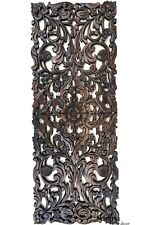 "Tropical Floral Wood Carved Wall Decor Panel.Dark Brown 35.5""x13.5"""