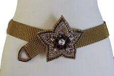 Women Hip Waist Fashion Belt Big Flower Buckle Lavender Star Purple Charm S M