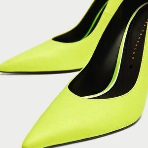 Zara Women Heels Neon Yellow Pointed Toe Pumps Size UK5 EUR38 New