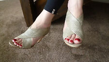 M&S Autograph leather beige and silver heels UK 5.5 in great condition