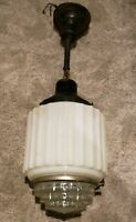 Antique 1920s Hanging Art Deco Milk Glass Skyscraper Ceiling Lamp Light Fixture