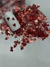 Valentine's Holographic Red Heart Nail Glitter | 1 TSP | Nail Art & Acrylic
