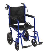 Wheelchair Lightweight Transport Folding Portable Travel Hand Breaks Safe Blue