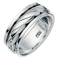 Elements 925 Oxidised Sterling Silver Twisted Rope Spinning Band Stress Ring [O]