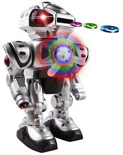Walking Android Toy Robot With Shooting Disc Flashing Lights And Sound Action S