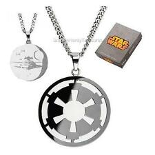 STAR WARS Official Licensed Imperial Symbol DEATH STAR Etched Pendant NECKLACE