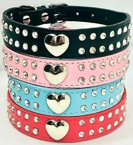 Dog Puppy Collar - PU Leather Rhinestone Heart Bling Collar - XXS, XS, S, M