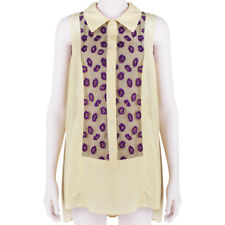 Giles Deacon Pale Yellow Purple Lip Embroidered Mesh Blouse Shirt Top IT40 UK8