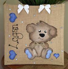 Personalised New Baby Boy Girl Gift Jute Bag 32cm x 32cm