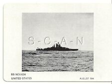 WWII Double Sided Recognition Photo Card- Navy Battleship BB Nevada- Aug 1944