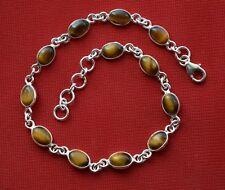 925er Sterlingsilber Armband natürliche Tigerauge Edelstein Größe JSTEB05