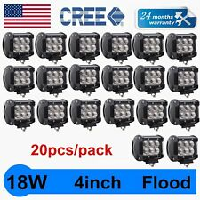 20X 4INCH 18W CREE LED WORK LIGHT BAR OFFROAD DRIVING FLOOD LAMP CUBE PODS TRUCK