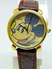 Mickey Mouse JAZ pearl dial Ladies Watch /Brown leather band /lot 568