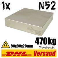 Neodym Magnet 90x90x20mm 470kg Zugkraft N52 super power Hochleistungsmagnet