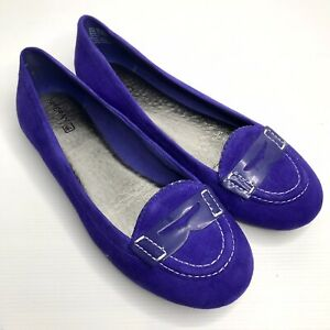 SPERRY 'Top Sider' US 9M EU 40M Purple Suede Leather Slip On Ballet Flat Loafers