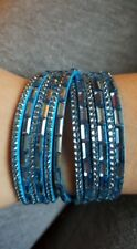 Double Wrap Cuff Medium Blue Bracelet with Blue Colored Stones