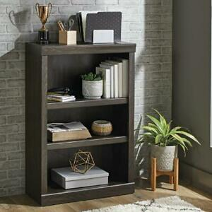 Wooden Sturdy Bookcase Rustic Gray Finish 3 Shelves