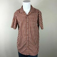 Mens Columbia Large Plaid Short Sleeve Casual Button Up Shirt