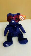 Ty Beanie Baby MARDI GRAS the BEAR 2005 Glittery Dark Blue w/Mask *Retired & New