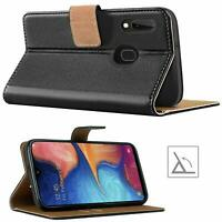 Luxury REAL LEATHER WALLET STAND CASE FOR SAMSUNG GALAXY A20 UK DISPATCH