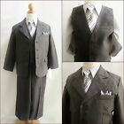 Well tailored Charcoal/Dark grey Boy formal party suit 5 pc set all sizes