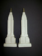 Vintage Empire State Building Salt & Pepper Shakers NIB White & Silver Ceramic