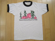 FUNNY!! 80s vtg IOWA IS OUTSTANDING IN ITS FIELD pig T SHIRT 50/50 SMALL