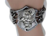 New Punk Rock Women Biker Fashion Pewter Metal Chain Bangle Bracelet Skull Snake