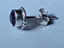 MEN'S SINGLE STERLING SILVER & AMETHYST  8mm. ROUND SMALL STUD EARRING £5.50 NWT