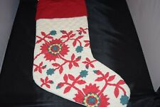 NEW Pottery Barn Maisie Floral Quilt Christmas Holiday Stocking Red Cuff Flowers