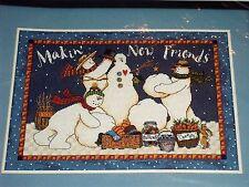 Vintage Dimensions Christmas SNOWMAN Cross Stitch Kit MAKIN' NEW FRIENDS
