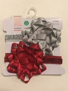 Just One You Carter's Baby - 2 Pack Red & Silver Headbands With Bow - Super Cute