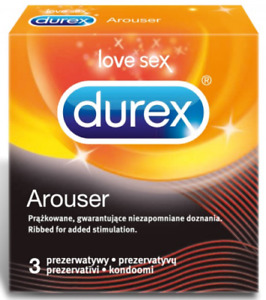 Durex Arouser Ribbed condoms for Added Stimulation Retail box of 3