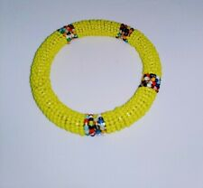 Bangle - Kenya Jewelry yellow African Maasai Masai Beaded Bracelet