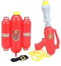 """Kids 14"""" Firefighter Water Gun Pump Action Super Soaker with Backpack Tank"""