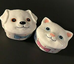 CAT & DOG TRINKET BOXES SET OF 2  HAND DECORATED VINTAGE PINK & BLUE BOWS