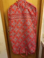 VERA BRADLEY quilted 100% COTTON large GARMENT BAG in MOD RED PAISLEY CROSS NWOT