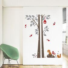 Árbol, aves, Ardilla pegatinas de pared. Vivero, dormitorio, cocina, Niño, Gris