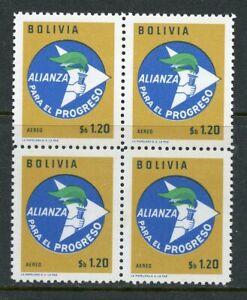BOLIVIA SC# C250 CEF# 749 ALLIANCEFOR PROGRESS KENNEDY BLOCK OF 4 MNH AS SHOWN