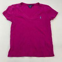 Ralph Lauren Sport T Shirt Women's Large Short Sleeve Pink Purple V Neck Cotton