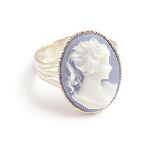 Blue CAMEO RING lady victorian gothic goth steampunk lolita silver adjustable