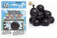 50 Black Cannon Ball Water Bomb Balloon Pirate Summer Party Fun Toy Garden Beach