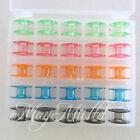 25PCS Sewing Machine Bobbins Spool Plastic Case For Brother Janome Singer Elna E