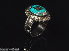 Traditioneller Tibetischer Türkis Ring tibetan turquoise ring neusilber  Nr.24