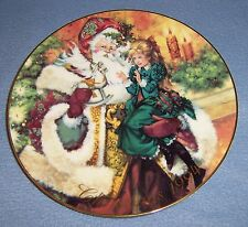 1994 Avon CHRISTMAS PLATE Santa Victorian little girl Wonder Of Christmas MINT