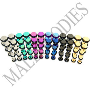 """V042 Fake Cheaters Illusion Faux Plugs 4G~1/2"""" Silver Black Blue Gold Hot Pink"""