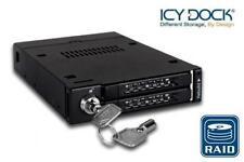 "New ICY Dock MB992SKR-B 2 Bay Dual 2.5"" RAID SATA SSD HDD Hard Drive Mobile Rack"