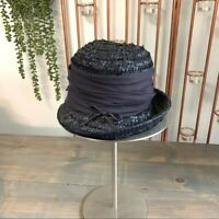 Vintage Navy Blue Straw Cloche Hat Large Ribbon Accent Union Made